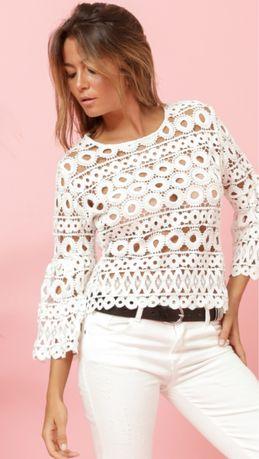 Blusa Crochet marca Vintage Bazaar branca  ou  preta