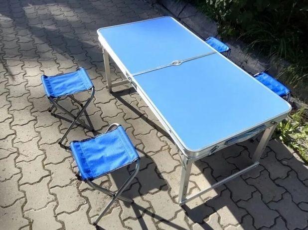 Усиленный стол + 4 стула с зонтом для пикника синий и другие цвета