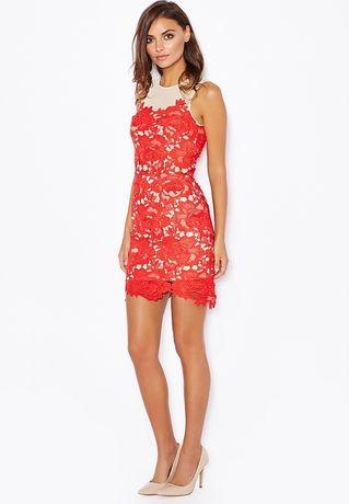 Missguided sukienka czerwona gipiura studniówka L XL