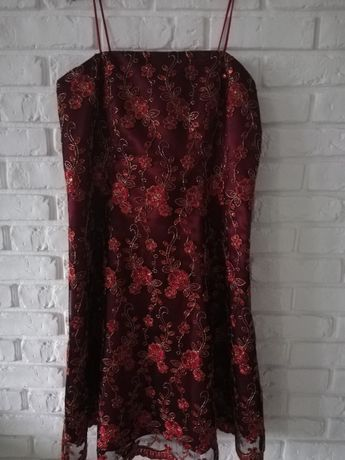 sukienka z cekinami na wesele + bolerko rozm. 44