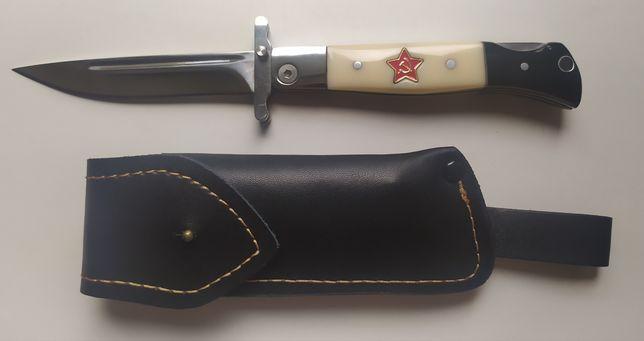 Финка НКВД, складной нож, кожаный чехол.