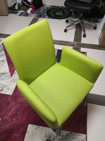 Okazja fotel krzeslo zielone skora
