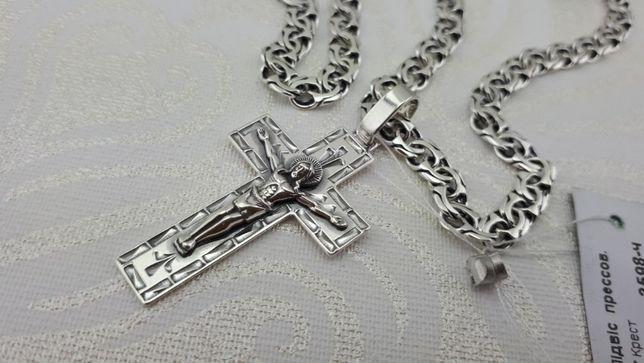 Распродажа! Серебряная цепочка и крестик. Цепь серебро. кулон - крест.