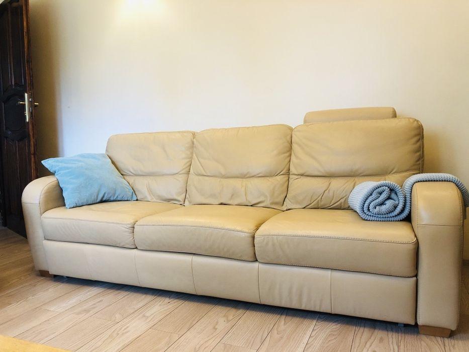 Zestaw wypoczynkowy, meble skórzane, sofa z funkcja spania, sofa,2xpuf Poznań - image 1