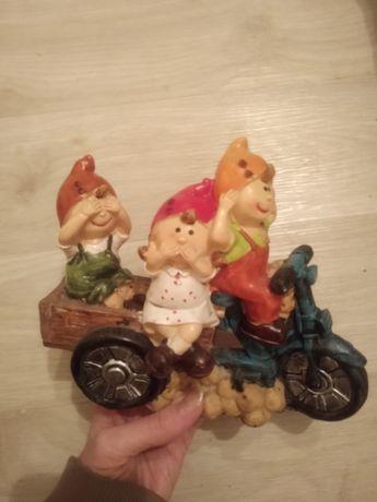 Фигурка для мини-сада декоративная на полку Гномы на мотоцикле
