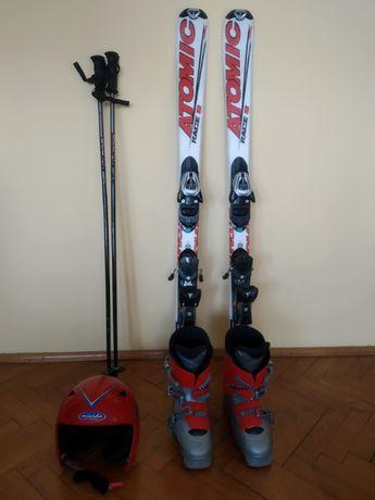 Zestaw narciarski dziecięcy - narty 120, buty Salomon, kask, drążki