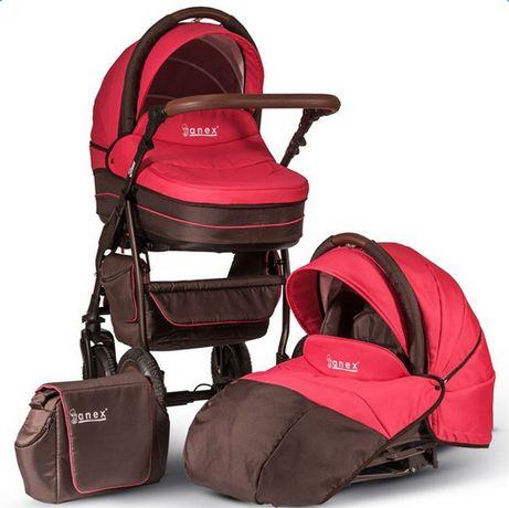 Детская коляска 2 в 1 Anex Elana E05 (цвет коричнево-розовый)