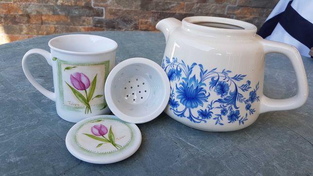 Bule + Chávena Chá com coador - muito antigo