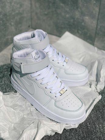 Тренд!!!Кроссовки белые Nike Air Force High White Найк Аир Форс