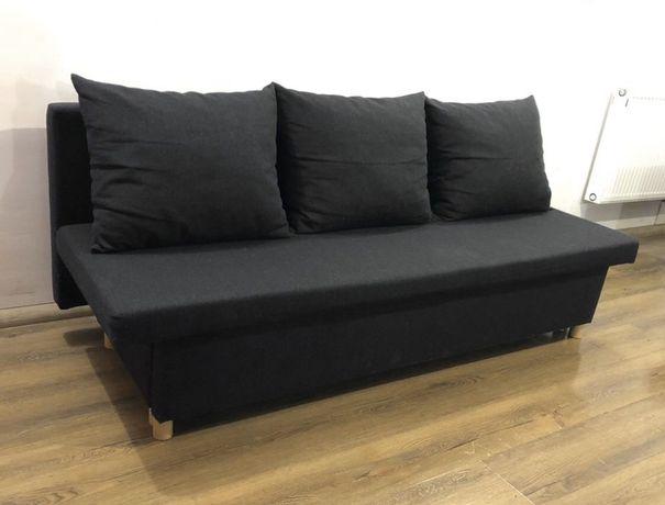 Kanapa czarna rozkładana poduszki sofa łóżko wersalka Warszawa DOSTAWA