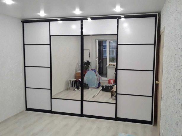 Шкаф купе в любом наполнении (двери зеркало или ДСП 18мм) Скидки 30%