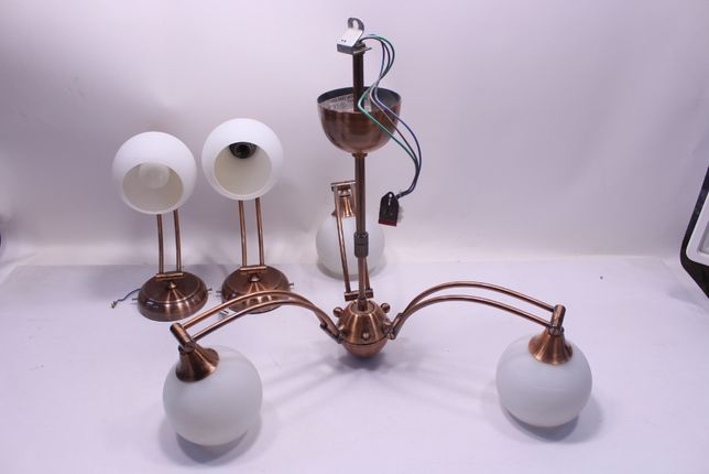 Komplet lamp miedzianych żyrandol kinkiety