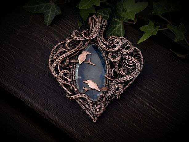 Wisior, agat, miedź, wire wrapping