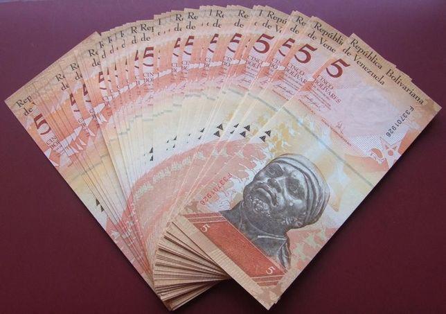 **LOT Banknotów 5 Boliwarów PANCERNIKI WENEZUELA - 25 szt. !! Stan UNC