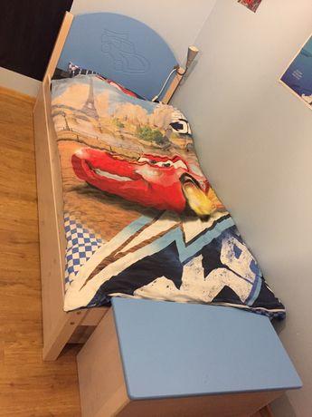 Zestaw mebli drewno dla dzieci łóżko podwójne z szufladą, szafa komoda