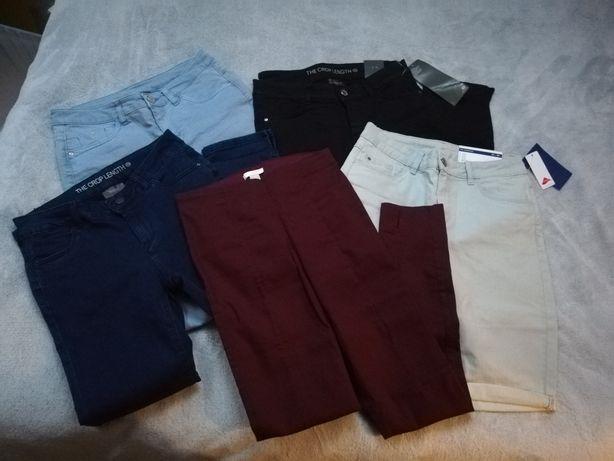 5pak spodnie damskie skinny jeansy bermudy rybaczki