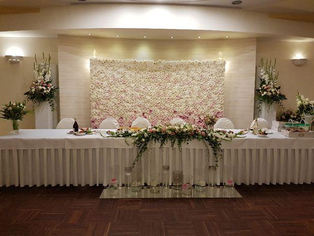 Ścianka kwiatowa Flower wall tło dekoracja wesele ślub przyjęcie