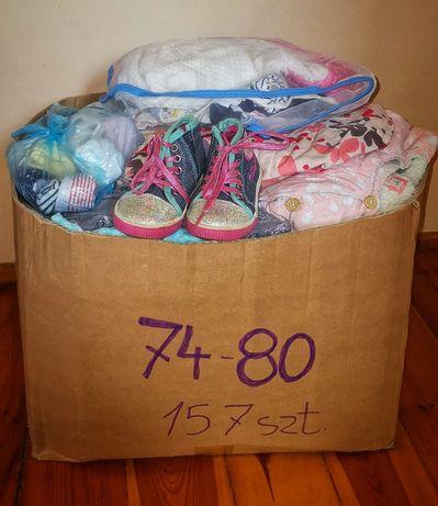 Ubranka dla dziewczynki r. 74-80 duża paczka