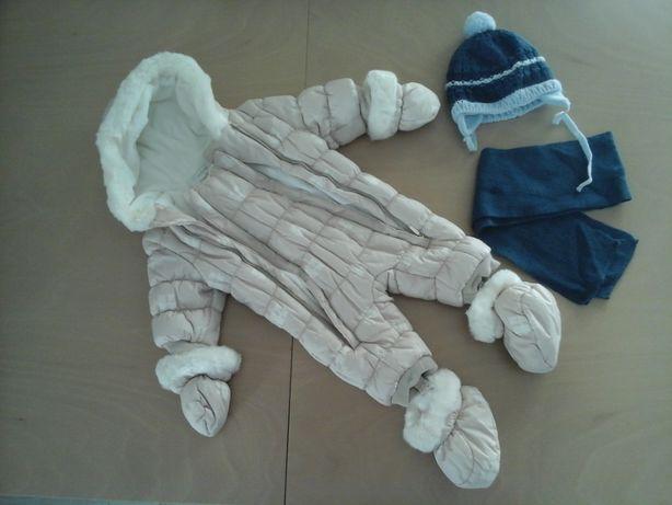 Kombinezon zimowy dla niemowlaka dziecka dziewczynki r. 50-56