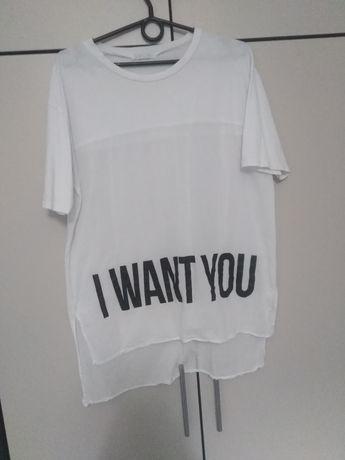 T-shirt bluzka biała napis M