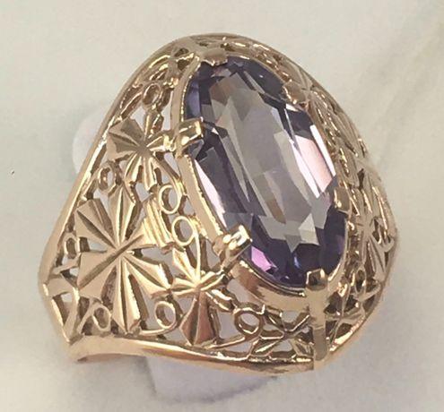 Кольцо золотое александрит 583 проба, советское, а734