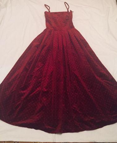 Вишневое велюровое платье в пол