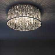 Elegancka kryształowa lampa plafon LEFES 48 cm kryształ chrom
