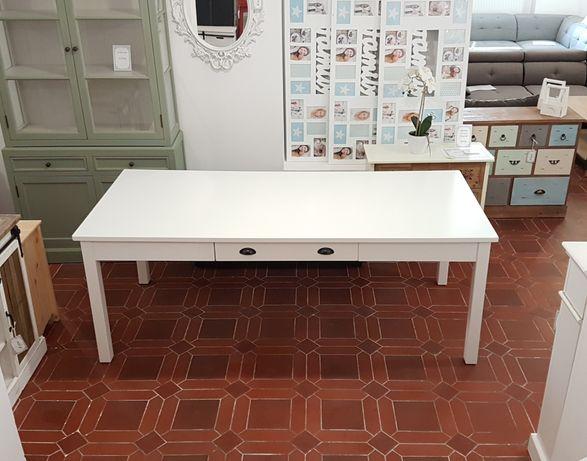DARMOWA DOSTAWA! Stół drewniany biały z szufladami 200x90 do jadalni