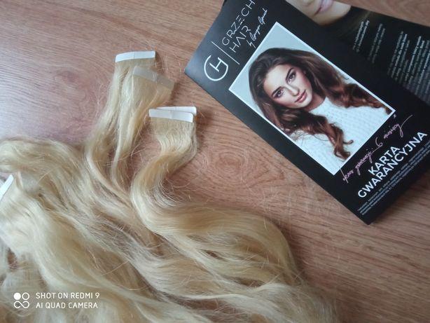 Włosy GrzechHair jasny blond metodą kanapkowa 50 cm