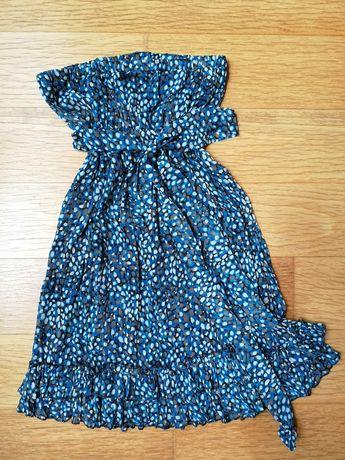 Vestido curto Rafthi com padrão em tons de azul