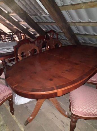 piękny zestaw cisowy stół + 6 krzeseł