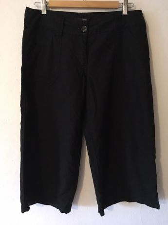 Lniane szerokie spodnie kuloty len bermudy