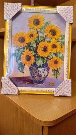 Картина бісером соняшники