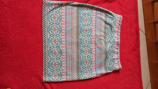 Spódnica kolorowa, wzór, etniczna, stan idealny