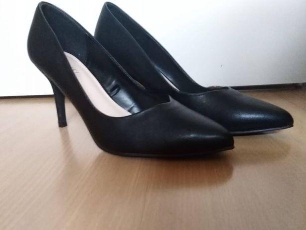 NOWE szpilki buty czarne na obcasie czółenka eleganckie rozmiar 38
