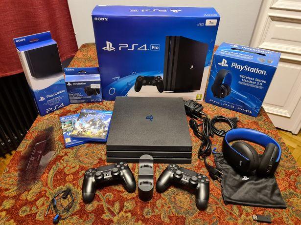 Konsola PlayStation 4 Pro 1TB- duży zestaw, akcesoria, 4 gry!