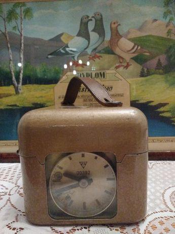 Stary, zabytkowy zegar do pomiaru czasu lotu gołębi