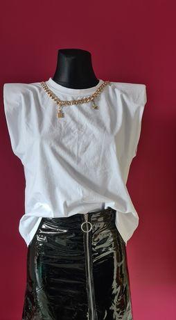 Nowa biała bluzka łańcuch r. L