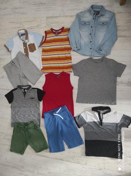 Zestaw ubrań letnich r. 122, bluzki, krótkie spodenki