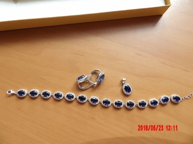 Piękna bransoletka i kolczyki, oraz zawieszka na Ślub biżuteria
