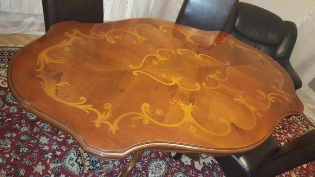 Wysoki,duży stół włoski, intarsjowany, styl Ludwik Filip