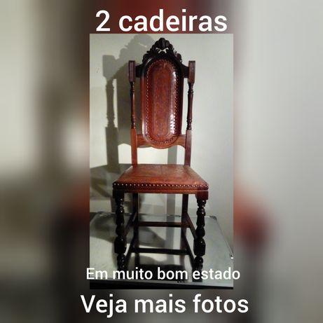 2 cadeiras madeira e couro trabalhado = 100 EUROS - em BEJA