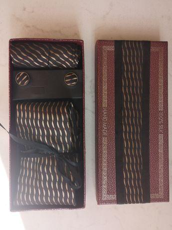 Jedwab 100% silk krawat poszetka spinki zestaw hand made z Wietnamu