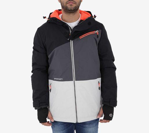 Kurtka zimowa z kapturem męska koloru biało ciemno szarego XL