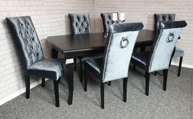 Krzesło z kołatką pikowane kryształki Velvet CHESTERFIELD