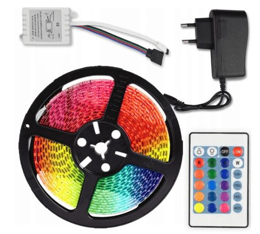 Kompletny ZESTAW Taśma LED RGB Kolorowa WODOODPORNA 5M Sterownik Pilot