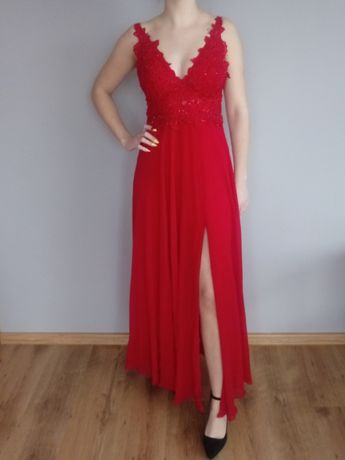 Wieczorowa suknia długa czerwona roz.36