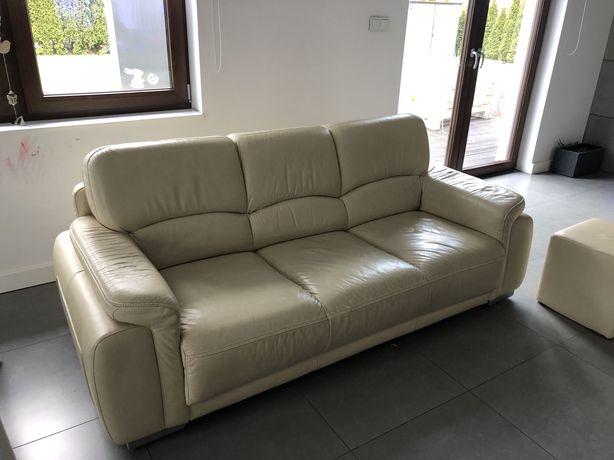 Wypoczynek skorzany Etap rozkladany + fotel + 2 pufy