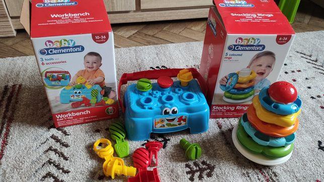 Zabawki Clementoni: stoliczek majsterkowicza i kolorowa piramidka