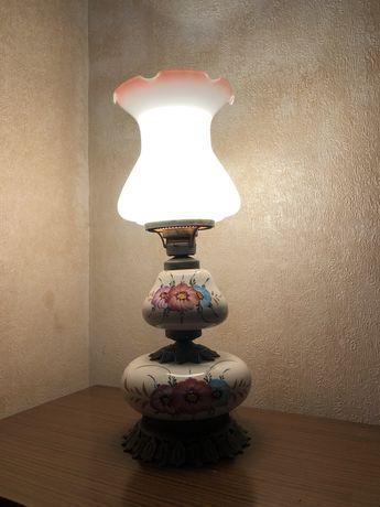 Candeeiro de mesa em cerâmica pintado a mão vintage